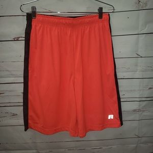 Bright orange athletic Jersey shorts Russell